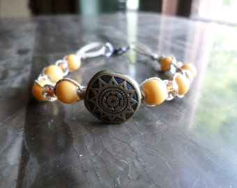 Sun Hemp Bracelet, with Yellow Glass beads