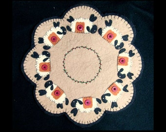 handmade fabric doily, appliqued doily,  candle mate, table decoration, fiber art doily, #11