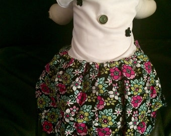 New; Dog Dress White & Floral Print Small Size