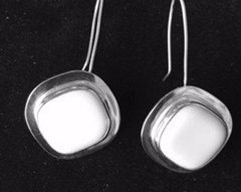 Sterling silver and fused glass earrings on a hook