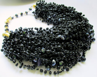 Black airy beaded necklace – black seed bead necklace with dark blue sunstone – air multi strand black beaded necklace