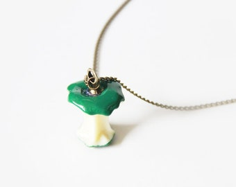 Green Apple Charm on a Silver Cable Chain