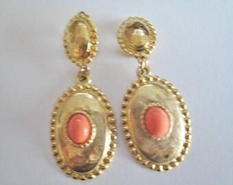 Gold Tone Dangle Clip Earrings