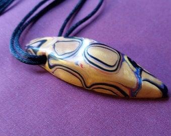 Klimt inspired polymer clay pendant