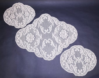 three of crocheting centers for bedroom or living room