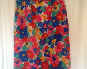100% Silk Skirt in Bright Floral Pattern