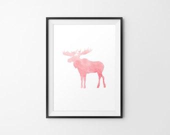 Moose Watercolor, Moose Silhouette, Moose Minimal Art, Moose Print Art, Moose Wall Print, Moose Wall Decor, Moose Print Art, Red Moose