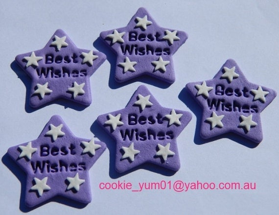 Edible Cake Decorations Stars : 12 edible BEST WISHES STARS cake decorations cupcake wedding