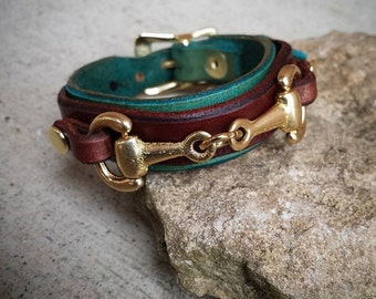 Leather bracelet with bronze horse bit