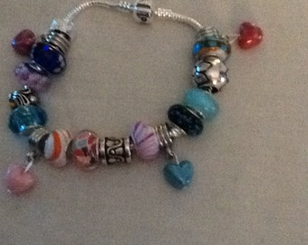 BLUE Mixed color Charm Bracelet