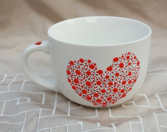 Cup heart dotted hand painted