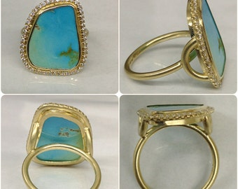 0.24CTW 18k yellow gold Turquoise Pave Ring