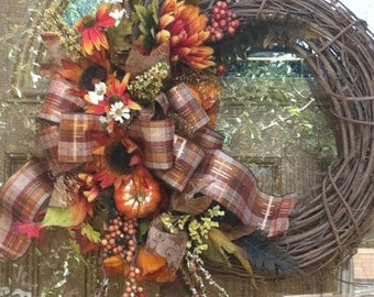 Fall Grapevine Wreath, Silk Flower Fall Wreath, Fall Door Wreath, Fall Decor, Fall Plaid Ribbon Wreath, Fall Plaid Ribbon Grapevine Wreath