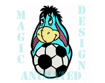 Donkey Soccer Machine Embroidery Design in 4x4 ---Instant download---