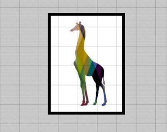 "GIRAFFE geometry ciel.wall art printable Rainbow... 8 ""x 10""... scrapbboking, clipart, table..."