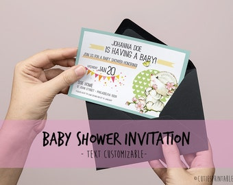 Baby Cuites Invitation - Invite Printable with cutie kitten - Text Customizable