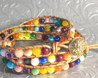 Leather with Tiger eye multicolored - Leather Triple Wrap Bracelet Beads Bracelet