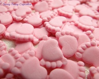 30 Edible baby feet-pink cupcake decorations cake toppers sprinkles christening