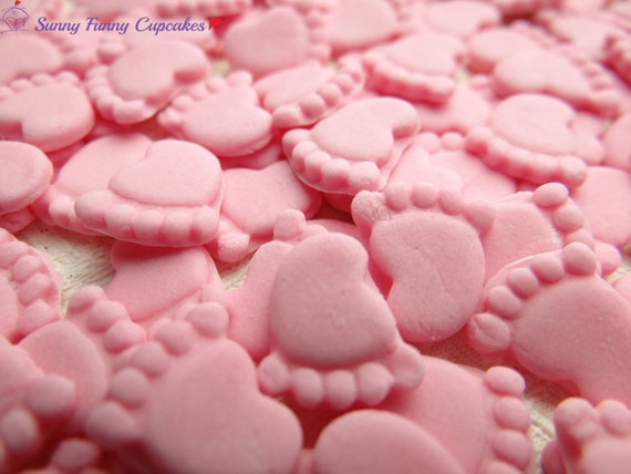 30 edible baby feet pink cupcake decorations cake toppers for Baby feet decoration