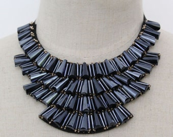 Collar Necklace - Navy - Detachable Collar Necklace -Statement Necklace