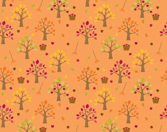 Happy Harvest Orchard Orange Gold by Riley Blake Designs - Fall Trees Thanksgiving - 100% Cotton Quilt Fabric - 2/3 yard end of bolt