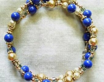 Lapis and Gold Coil Bracelet