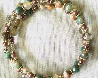 Earthy Onyx Coil Bracelet