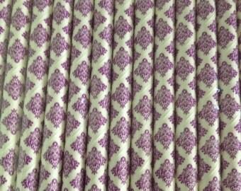 Purple Damask Paper Straw
