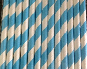 Bright Blue and White Stripe Paper Straw (pack of 25)