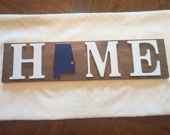 Home Auburn Alabama Wooden Sign