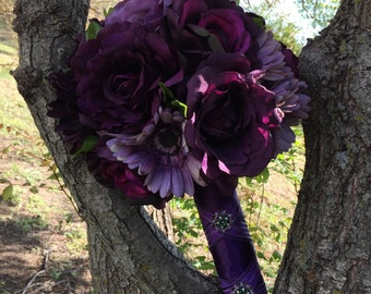 Beautiful Shades of Purple Brides Bouquet