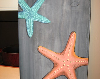 Starfish painting - Driftwood - nautical decor - beach decor