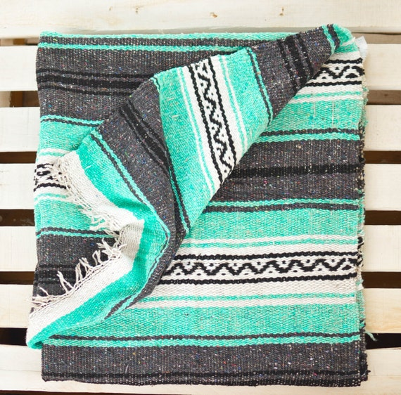 Turquoise Stripped Mexican Blanket Warm Cozy Boho By Ushushubi
