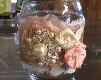Burlap and Roses Decorated Jar