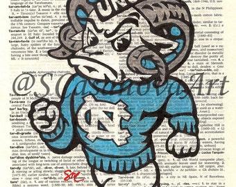 University of North Carolina Ram Tar Heel on Dictionary Paper - Art Print