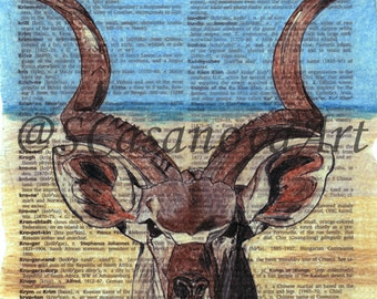 Greater Kudu Animal on Dictionary Page - Art Print