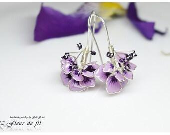 Handmade Earrings, Flower Earrings, Purple Earrings, Silver wire Earrings, Hook Earrings, Unique Earrings, Fashion Earrings
