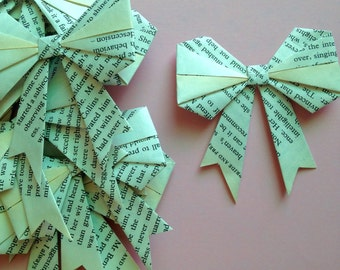 10 Origami Bows Handmade Paper Bows Vintage Book Pages Bows using Pride and Prejudice