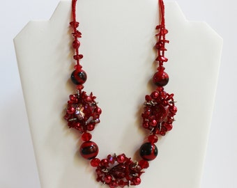 Red 3D Statement Necklace