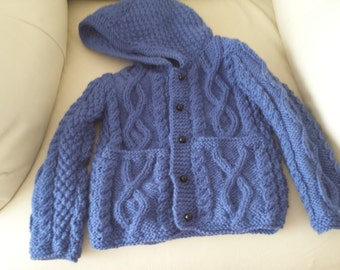 hand made 1-2yrs boys hooded cardigan