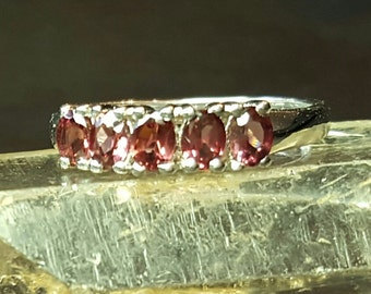 5 Stone Stacked Cut Oval Garnet Band Ring