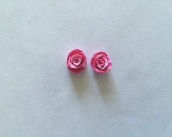 Tie die rose earrings