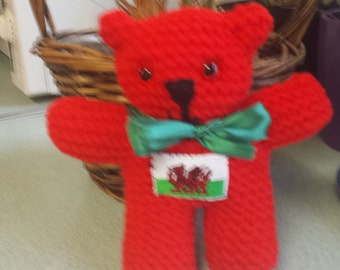 Adorable little hand knitted Welsh Bear