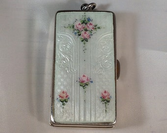 Vintage Sterling Silver Enamelled Token Case  (could be used for pills, etc.)