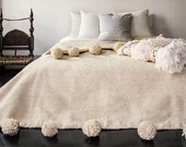 Berber Moroccan Pom Pom wool blanket Throw. couverture Berbere de l'aine. Wedding bed throw .