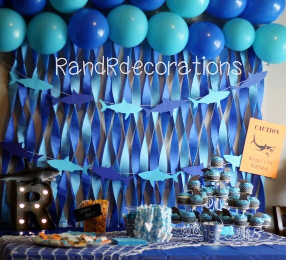 Paper Cut Out Blue Balloons First Birthday Decoration: Shark Banner Birthday Decorations Shark Cutouts Boy