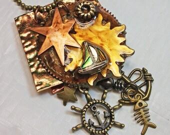 handmade bohemian nautical metal and resin mixed media pendant necklace sail away