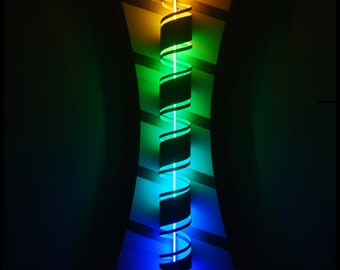 Spiral - a sculptural combination of neon, pressed particle tube and plastic.