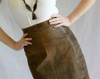Vintage leather skirt / brown / mini skirts / 1980s / tough stuff!