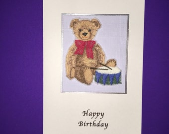 Beautiful Embroidered Teddy Bear Birthday Card